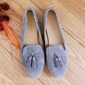 J. Crew cora suede tassel loafers flats Gray Sz 7